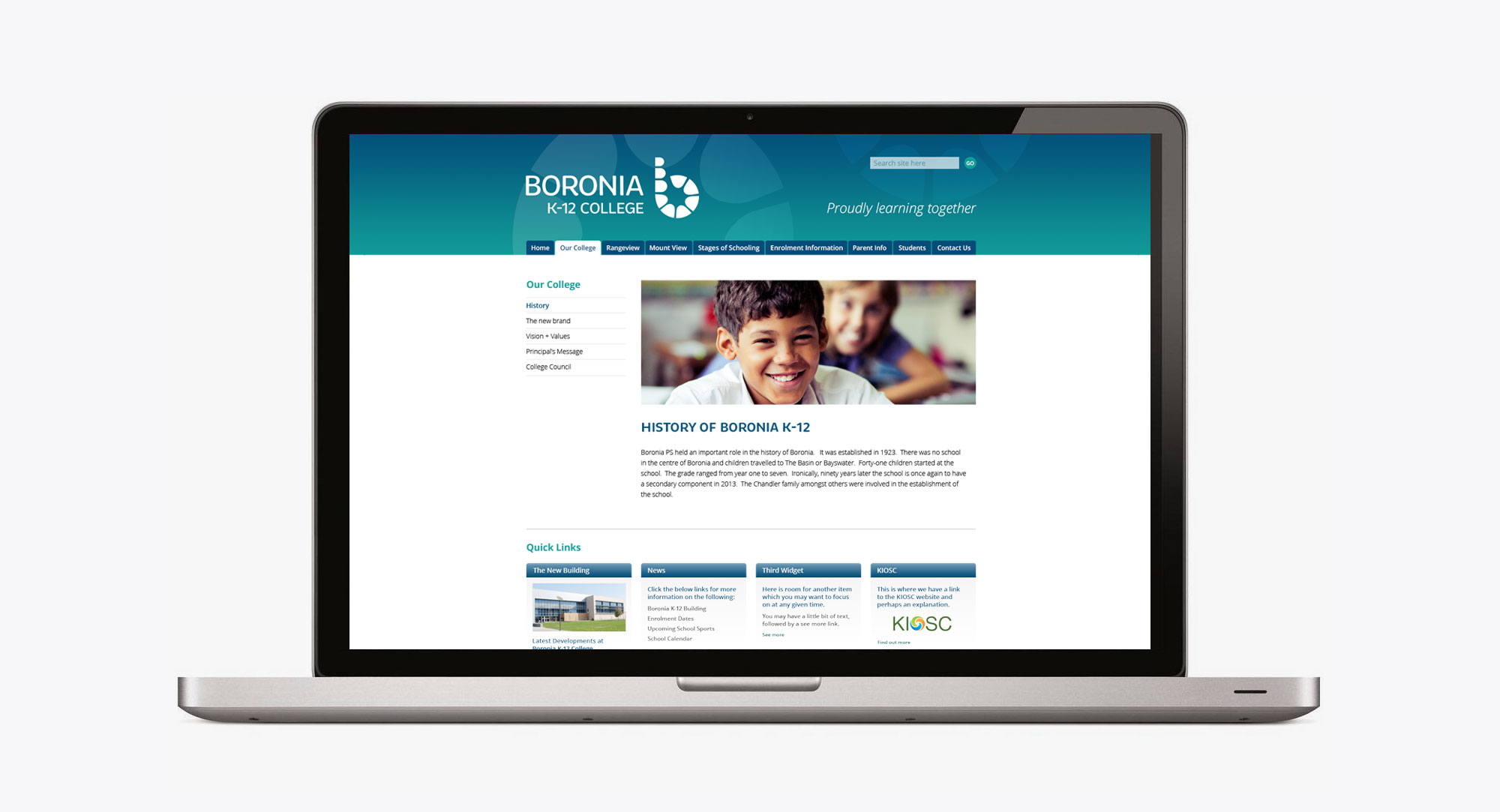 History page on the Boronia K12 College website