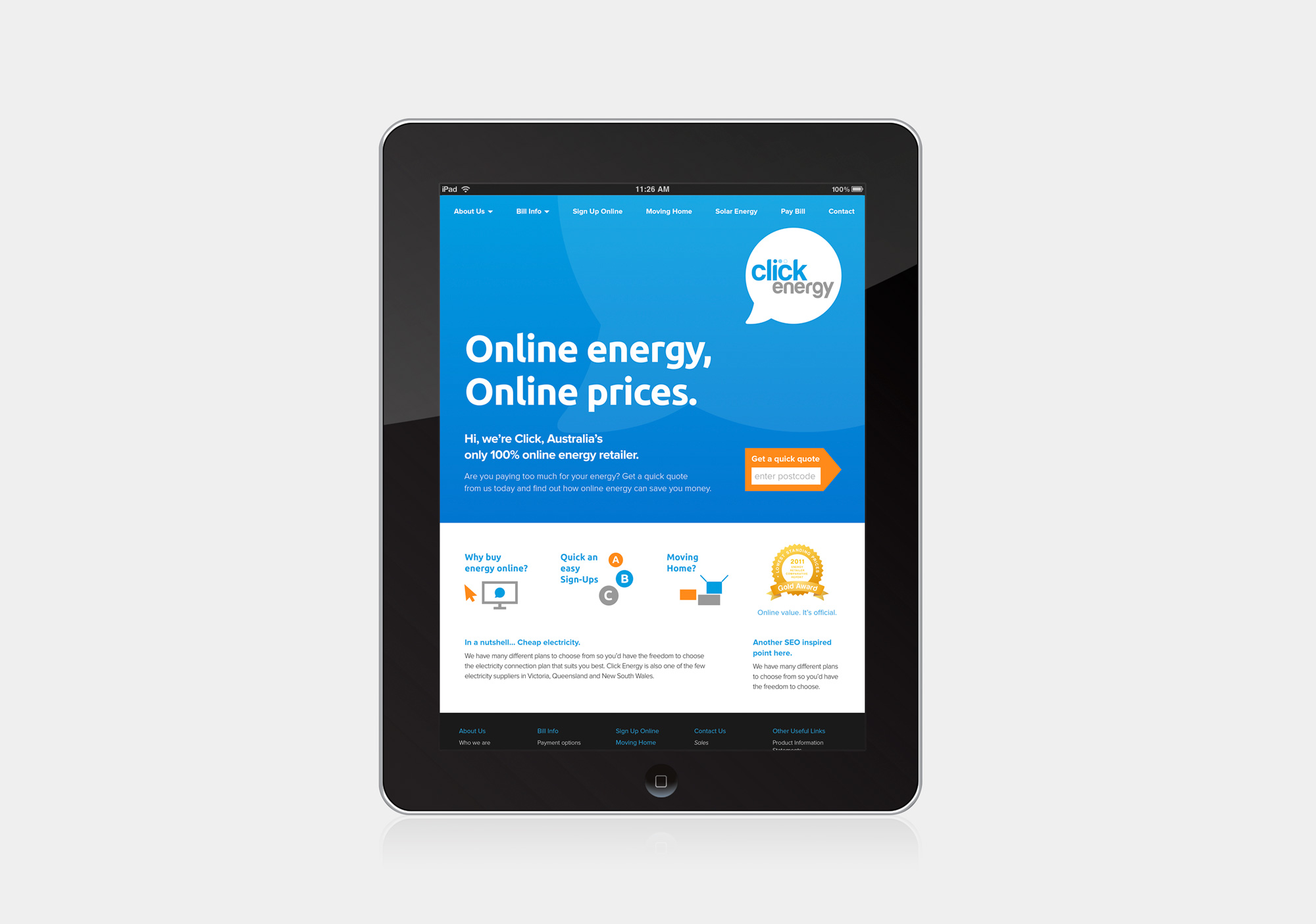 Tablet version of Click Energy's website