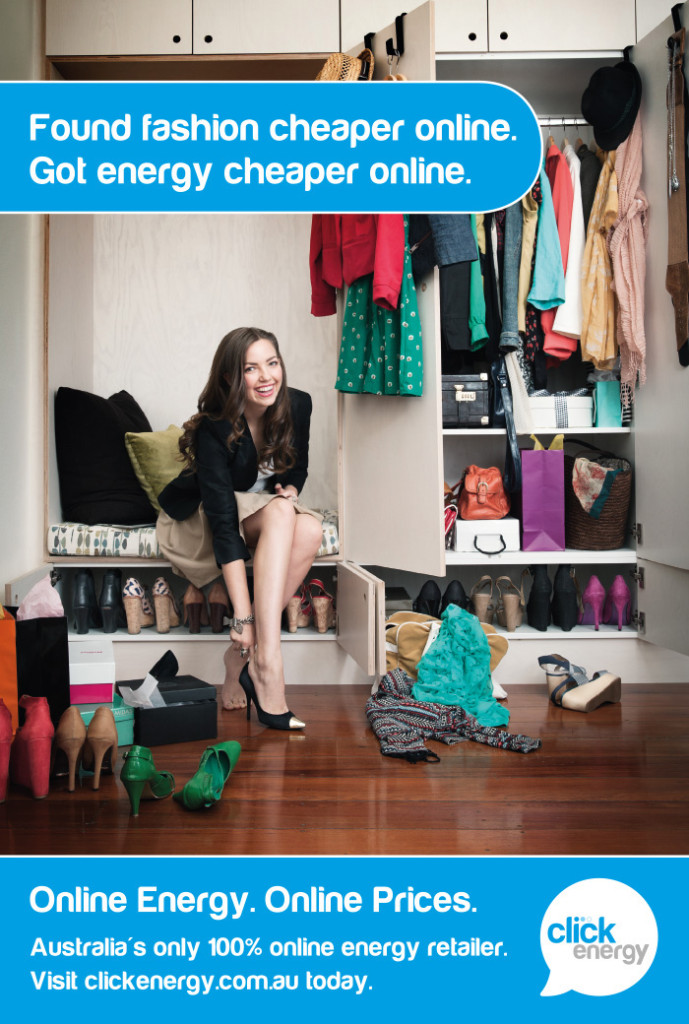 Click Energy advertisement with a fashion theme