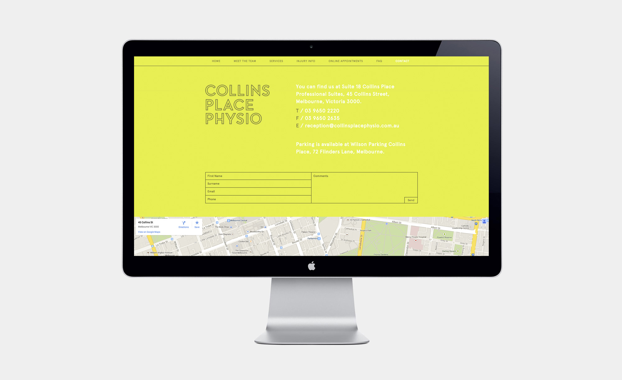 Contact details on the Collins Place Physio website
