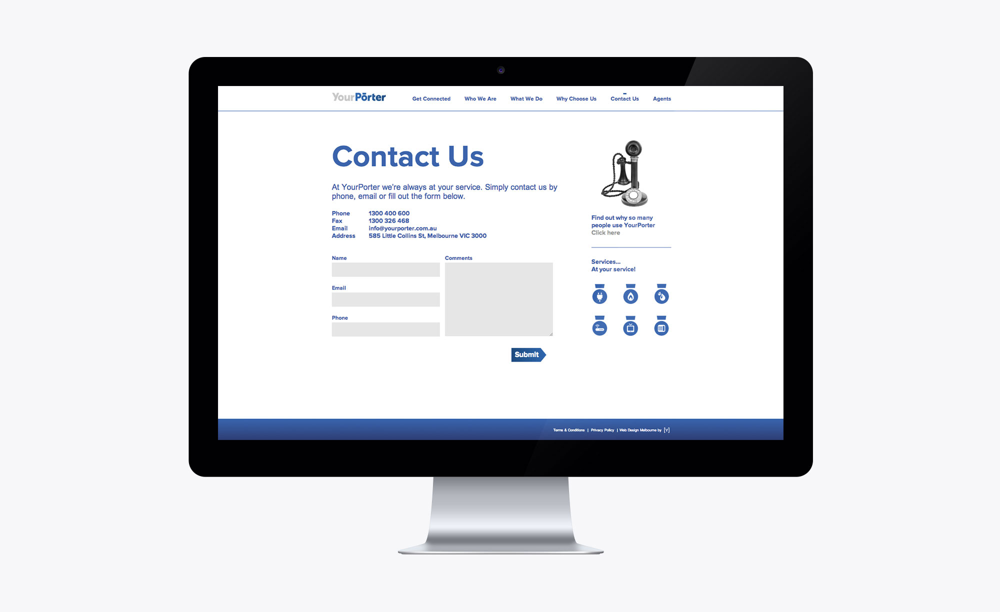 Contact page on the Your Porter website