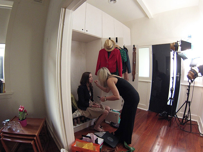 Click Energy shoot behind the scenes make up