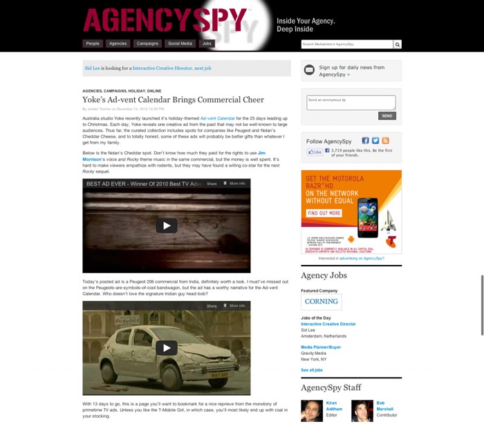Advent Calendar Agencyspy article