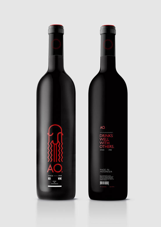 AO wine bottle design