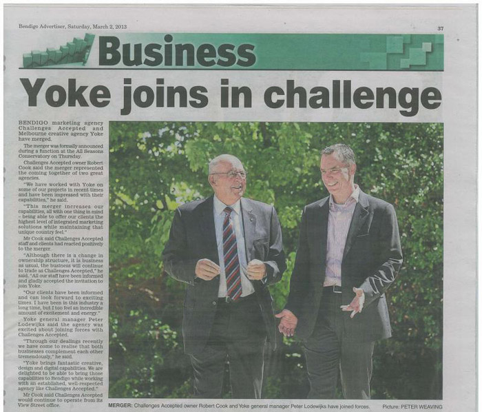Article about the Yoke & Challenges Accepted merger