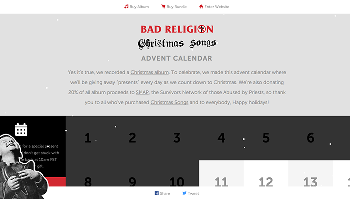 Christmas Advent calendar - Bad Religion Christmas songs Advent calendar