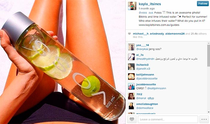Kayla_itsines with Voss Water