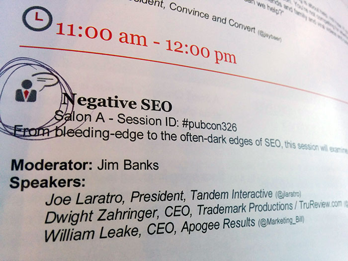 Negative SEO seminar at PubCon 2014