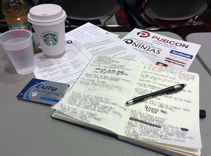 PubCon 204 Las Vegas notes, coffee and chewing gum
