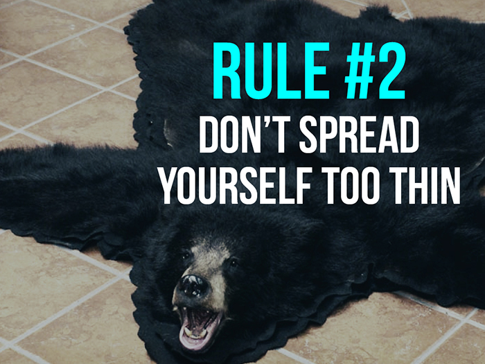 Rule 2 - Don't Spread Yourself Too Thin - Social Media Rules by Yoke Melbourne