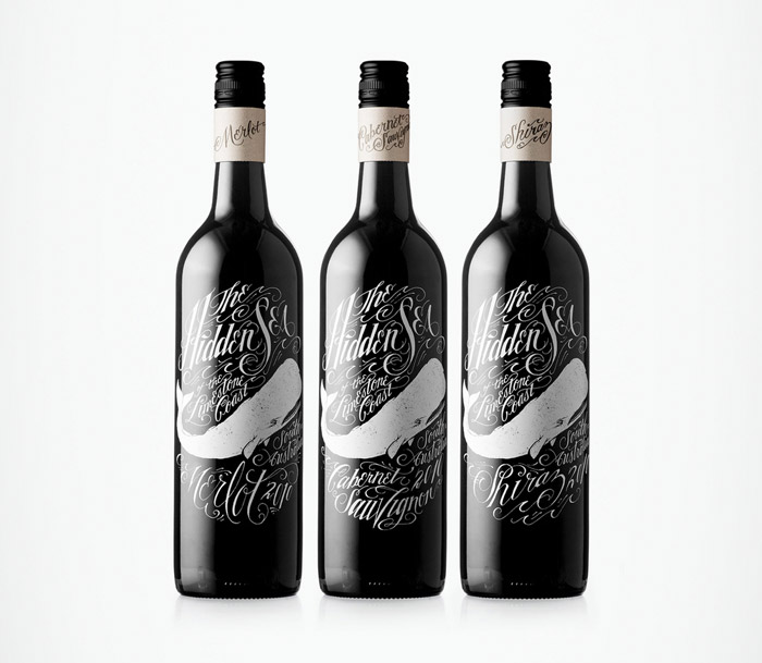 Whale illustrations used in wine bottle design