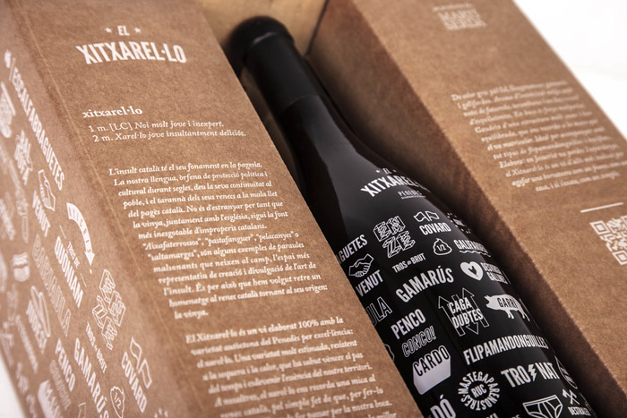 Wine packaging design with doodles