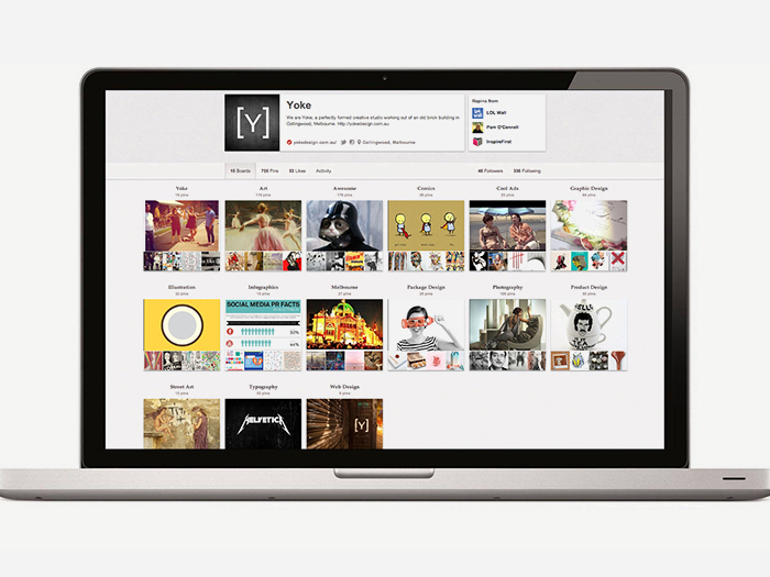 Yoke's Pinterest page - Social Media Rules by Yoke Melbourne
