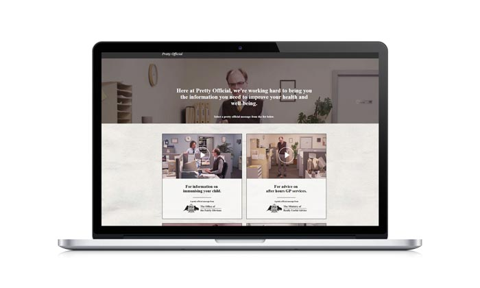 Pretty Official healthcare marketing campaign website design by Yoke