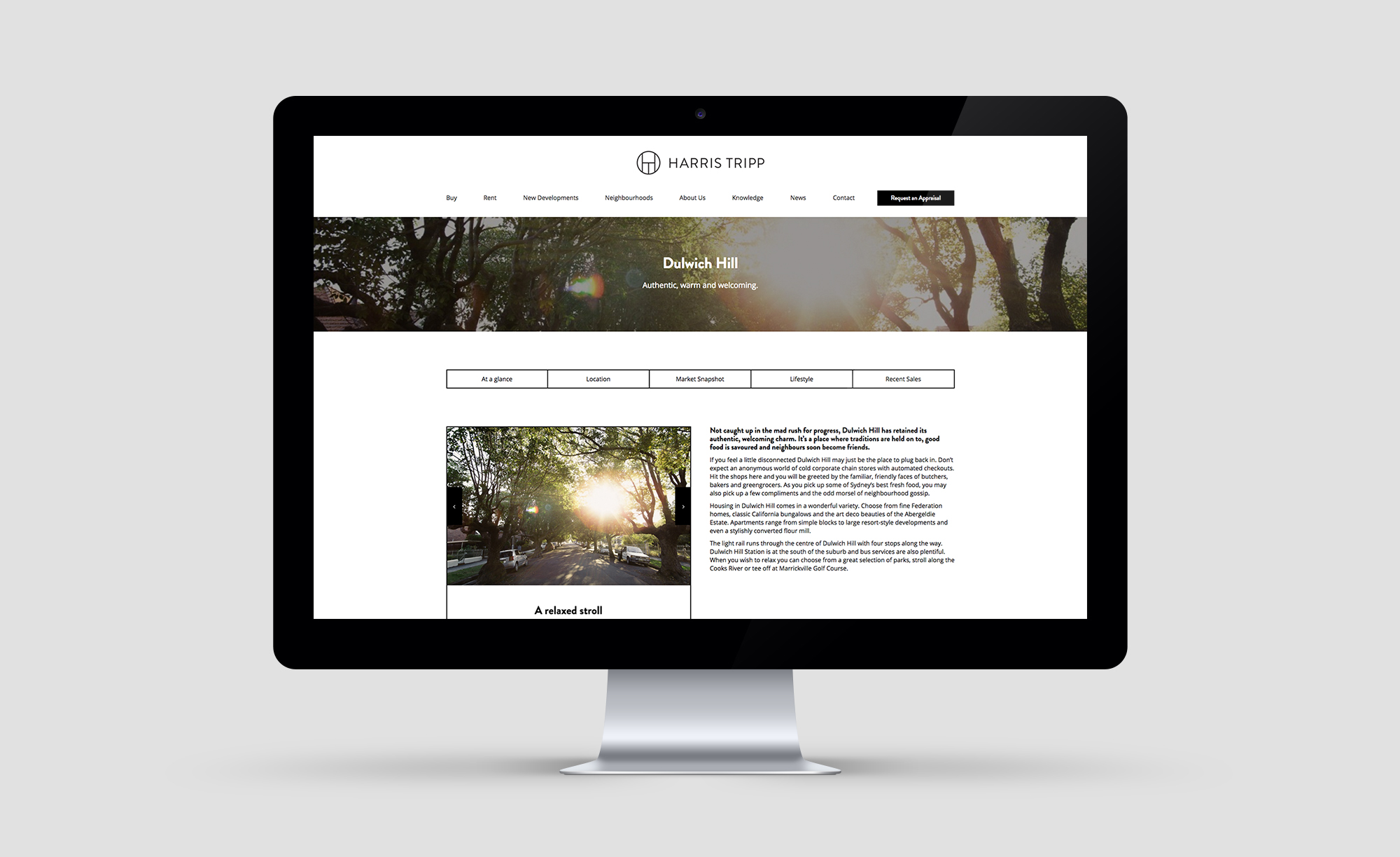 Commercial real estate website design for Harris Tripp by Yoke
